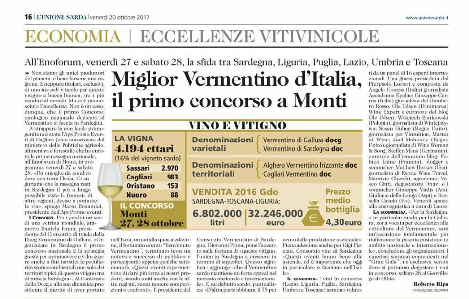 Revue de presse 2017: Meilleur Vermentino d'Italie le premier concours dans la ville de Monti